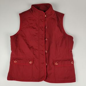 Talbot's Red Quilted Button Front Vest
